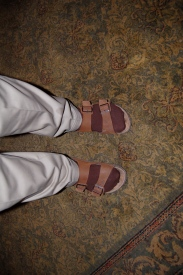 If anyone can guess who came in these shoes, we can fine him $1...